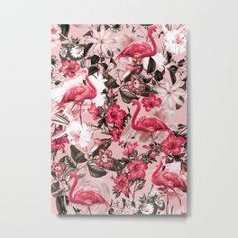 Floral and Flemingo III Pattern Metal Print