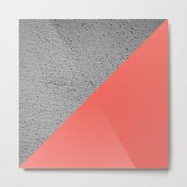 Geometrical Color Block Diagonal Concrete vs coral Metal Print