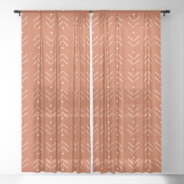 Arrow Lines Pattern in Terracotta Rose Gold Sheer Curtain