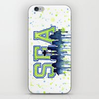 seahawks iPhone & iPod Skins featuring Seattle 12th Man Art Watercolor Space Needle Painting  by Olechka