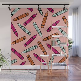 Crayons on Pink Pattern Wall Mural