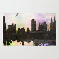 new york Area & Throw Rugs featuring new York  new York  by mark ashkenazi