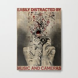 PHOTOGRAPHY Girl Easily Distracted By Music And Photos Metal Print