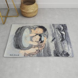 Two Children Playing With Goldfish - Digital Remastered Edition Rug