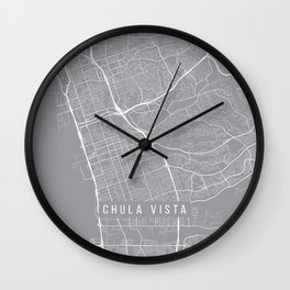 Chula Vista Map, California USA - Pewter Wall Clock
