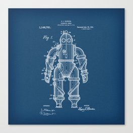 Submarine Armor Patent Blueprint 1915 Canvas Print