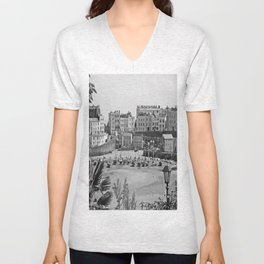 Tenby Harbour. Black+White. Reflection. Unisex V-Neck