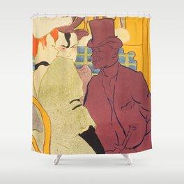 """Henri de Toulouse-Lautrec """"Flirt"""" Shower Curtain"""