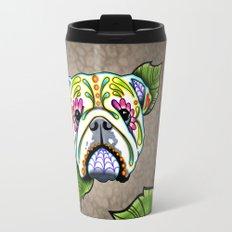 Day of the Dead English Bulldog Sugar Skull Dog Travel Mug