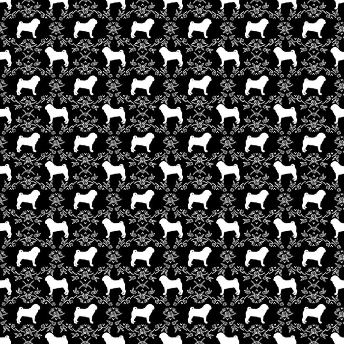 Pug silhouette florals black and white pattern for pug dog lover pet pattern gifts Duvet Cover