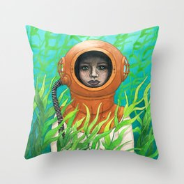 Scuba Girl Throw Pillow