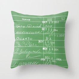 Library Card 23322 Negative Green Throw Pillow