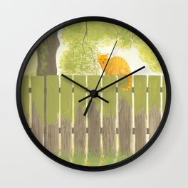 Cat on an old fence Wall Clock