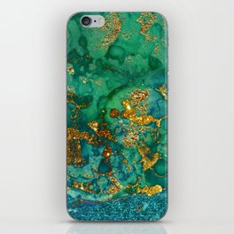 Malachite and Gold Glitter Stone Ink Abstract Gem Glamour Marble iPhone Skin