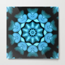 Blue Green Heart Mandala Kaleidoscope Pattern Metal Print