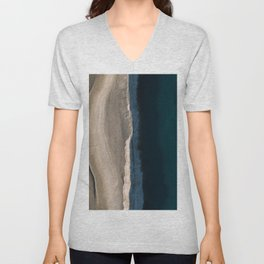 Footsteps during sunrise at a desert lake - Landscape Photography Unisex V-Neck