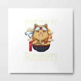 Funny Ramen Kawaii Gifts Girls Women, Powered by Ramen Kitty T-Shirt Metal Print