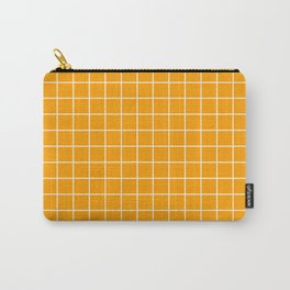 Orange peel - orange color - White Lines Grid Pattern Carry-All Pouch