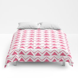 Hand painted pink watercolor aztec geometrical pattern Comforters