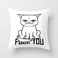 grumpy Throw Pillows featuring Grumpy Grumpy by Navass