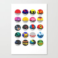 pokeball Canvas Prints featuring Pokeball by WSS3 The Paint Project