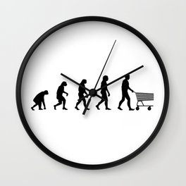 Evolution of shopping Wall Clock