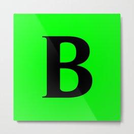 B MONOGRAM (BLACK & LIME) Metal Print