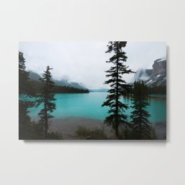 Jasper Maligne Lake View Turquoise Water after Rainfall Photography Travel Landscape Metal Print