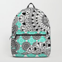 Black and Teal Patterned Mandalas Backpack