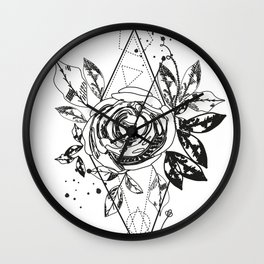Abstract rose silhouette. Triangle geometric shapes and rose. Summer time abstract black flowers Wall Clock