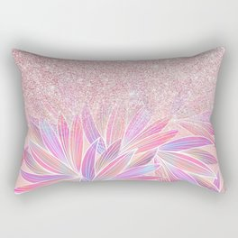 Girly pink artsy floral pink glitter Rectangular Pillow