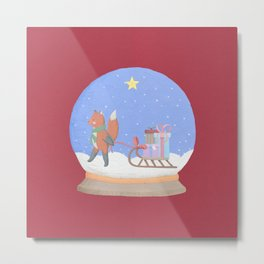 Fox Sled Gifts in Snow Globe Metal Print