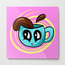 COFFEE TIME! Cute Coffee Cup Illustration Metal Print