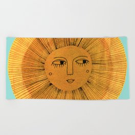 Sun Drawing - Gold and Blue Beach Towel