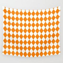 Diamonds (Orange/White) Wall Tapestry