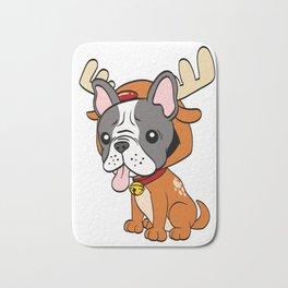 French Bulldog Christmas Dog T-shirt Design On Xmas Eve or Day Paw Paws Pet Breed Dogs Christmas Bath Mat