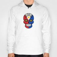 philippines Hoodies featuring Sugar Skull with Roses and Flag of Philippines by Jeff Bartels