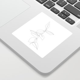 One line minimal plant leaves drawing - Berry Sticker