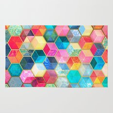 Crystal Bohemian Honeycomb Cubes - colorful hexagon pattern  Rug
