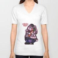 rabbit V-neck T-shirts featuring Rabbit by AKIKO
