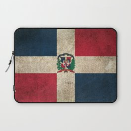 Old and Worn Distressed Vintage Flag of Dominican Republic Laptop Sleeve