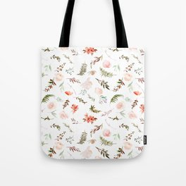 Coral pink green watercolor hand painted floral Tote Bag