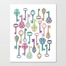 Rainbow Keys on White Canvas Print