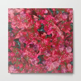 Abstract flowers . Red shabby chic. Metal Print