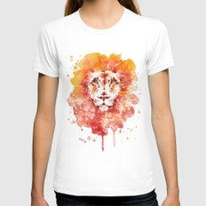 PRIDE (Water colour Lion) White LARGE Womens Fitted Tee