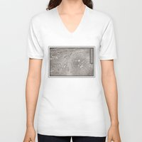prague V-neck T-shirts featuring PAPERCUT - PRAGUE by Colin Kiss