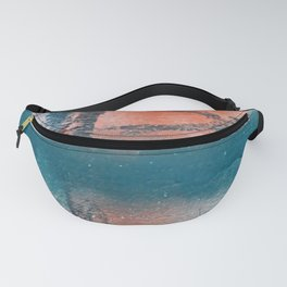 Poetry [1]: a vibrant abstract mixed-media painting in teal and pink by Alyssa Hamilton Art Fanny Pack