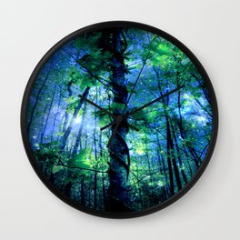 Forest of the Fairies Blue Night Wall Clock