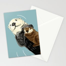 Otters of the World pattern in grey Stationery Cards