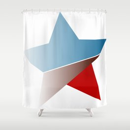 Ombre red white and blue star Shower Curtain